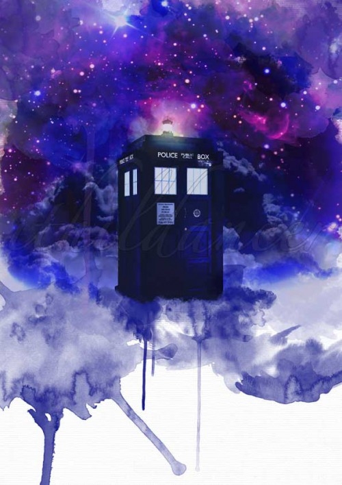 Æres dem som æres bør: Stock photos Tardis: http://advancedgraphics.com/product/tardis-dr-who/ Clouds: http://www.deviantart.com/art/Dark-Cotton-Clouds-168451107 Space: http://www.deviantart.com/art/Space-custom-box-background-436917829 Canvas texture: http://www.deviantart.com/art/High-Res-Canvas-Texture-89880013 Watercolor tutorial and brushes How to Make a Realistic Watercolor Painting in Photoshop: http://medialoot.com/blog/realistic-watercolor-painting-photoshop-tutorial/